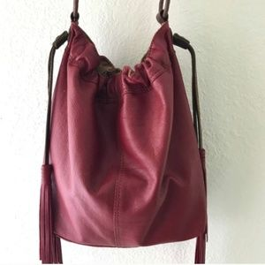 LUCKY BRAND Slouchy Hobo Leather Bag w/Tassels XL